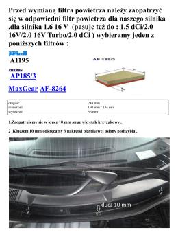 wymiana filtra powietrza Scenic II