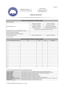 formularz produktowy pdf