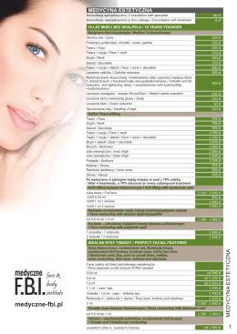 Cennik Medyczne Fbi - Face & Body Institute