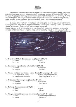 1/5 TEST IV - KOSMOS - Tajemniczy i nieznany wiat gwiazd i planet