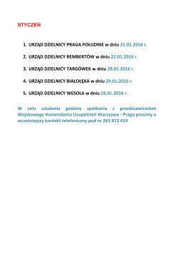 STYCZEŃ 1. URZĄD DZIELNICY PRAGA POŁUDNIE w dniu 21.01