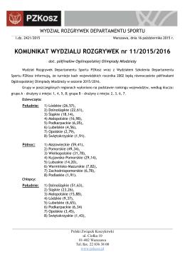 Komunikat WR 11/2015/2016 - Polski Związek Koszykówki