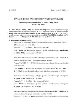 Z. 34/2015 Bałtów, dnia 16.11.2015 r. ZAWIADOMIENIE O