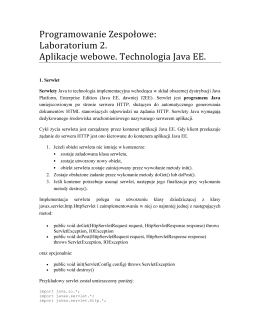 Laboratorium 2. Aplikacje webowe. Technologia Java EE.