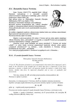 II zasada dynamiki I. Newtona