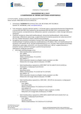 ogłoszenie nr 1/2015 o zamówieniu w trybie