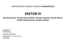 SEKTOR IV - harmonogram odbioru odpadów grudzień 2015