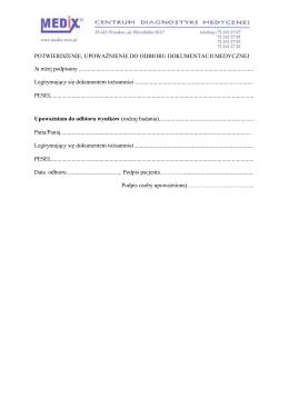 Wzór upoważnienia odbioru dokumentacji medycznej