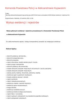 Wykaz ewidencji i rejestrów - Komenda Powiatowa Policji w