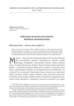Małgorzata Jaszczołt, Dobrostan muzeów prywatnych. Refleksje