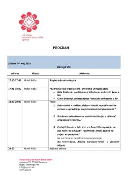 Program PDF dokument - UPZ Bosne i Hercegovine