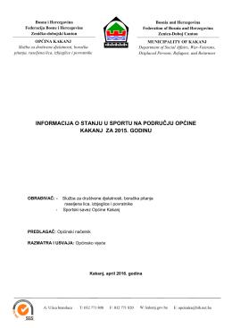 9. Informacija o stanju sporta na području općine