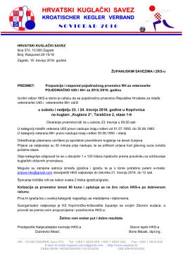 Propozicije i raspored - Hrvatski kuglački savez