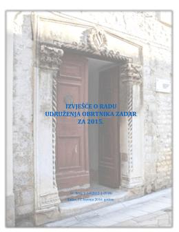 Izvješće o radu Udruženja obrtnika Zadar za 2015