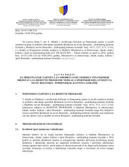 Javni poziv za dodjelu finansijskih sredstava za redovne programe