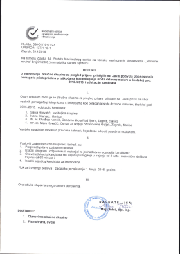 Odluka o imenovanju Stručne skupine za pregled prijava