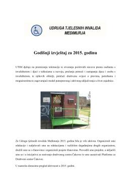 Godišnji izvještaj za 2015. godinu