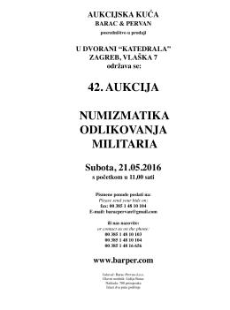 42. aukcija numizmatika odlikovanja militaria