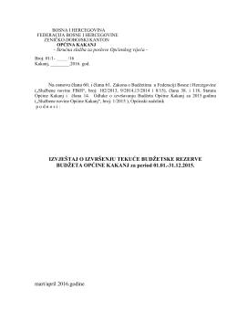 5. Izvještaj o utrošku sredstava TBR za 2015.