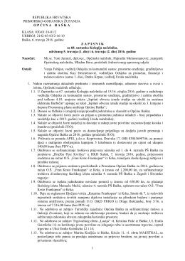 Zapisnik 68. sastanka Kolegija načelnika – 5. i 6.4