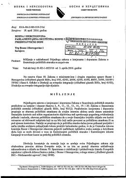 Misljenje DEI - Parlamentarna skupština Bosne i Hercegovine
