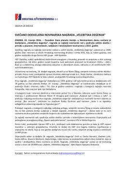 "svečano dodijeljena novinarska nagrada ""velebitska - HEP-a"