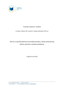 Tematsko izvješće br. 10/2016 Kako bi se zajamčila