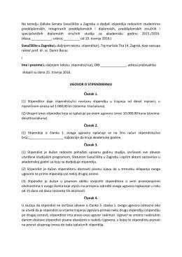 Ugovor o stipendiranju - Sveučilište u Zagrebu