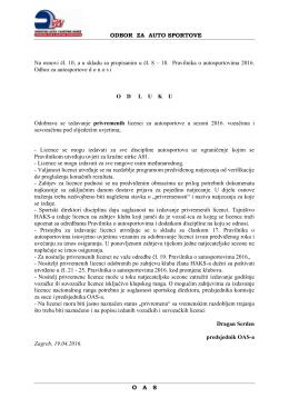 OAS-Odluka o izdavanju privremenih licenci za autosportove