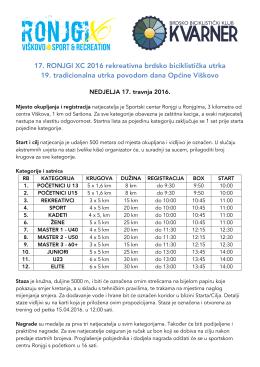Ronjgi XC 2016 Pravilnik