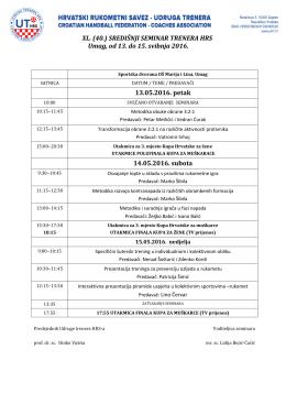 program 40. središnjeg seminara trenera hrs-a