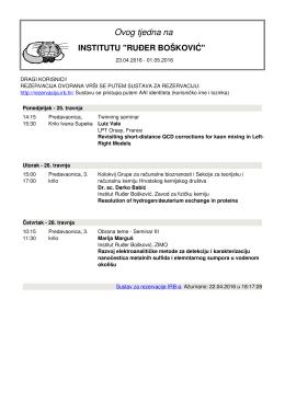 Satnica Dvorane - IRB - Institut Ruđer Bošković