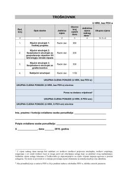 TROŠKOVNIK- pružanje usluge tehničke pomoći