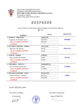 Raspored službenih osoba za 15. kolo Prve HNLŽ