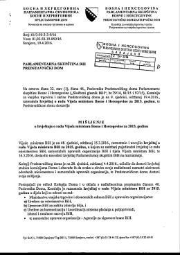 Misljenje o Izvjestaju o radu SM - Parlamentarna skupština Bosne i