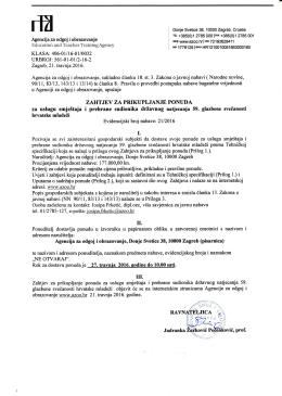 Zahtjev za prikupljanje ponuda - Agencija za odgoj i obrazovanje