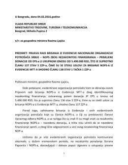 U Beogradu, dana 04.02.2016.godine VLADA REPUBLIKE SRBIJE