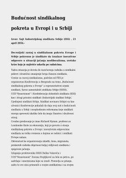 Budućnost sindikalnog pokreta u Evropi iu Srbiji