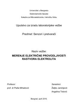 Merenje električne provodljivosti rastvora elektrolita
