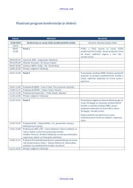 Planirani program konferencije je sledeći