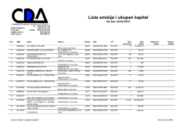 Lista emisija i ukupan kapital - Centralna Depozitarna Agencija