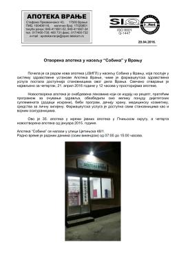 Otvorena nova apoteka u naselju Sobina u Vranju
