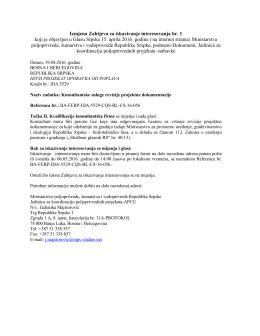 Konsultantske usluge revizije projektne dokumentacije sektor voda