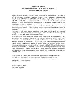 Prinudni otkup akcija izdavaoca MONTINVEST a.d. Beograd