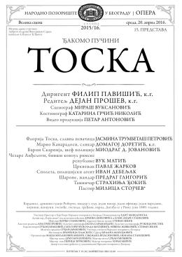 Диригент ФИЛИП ПАВИШИЋ, к.г. Редитељ ДЕЈАН ПРОШЕВ, к.г.