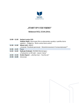 Agenda START UP U XXI VIJEKU