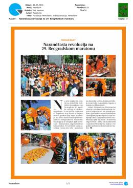 Narandžasta revolucija na 29. Beogradskom maratonu