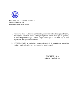 RUKOMETNI SAVEZ CRNE GORE Službeni Bilten br. 14 Podgorica