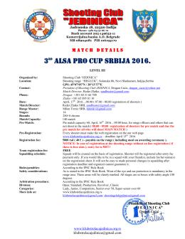 "3rd Alsa PRO Cup Srbija 2016. - Shooting club ""JEDINICA"", Indjija"