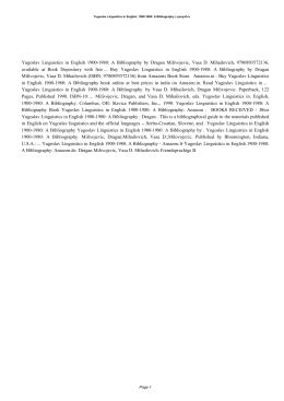 Yugoslav Linguistics In English, 1900